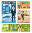 profession occupation banner of worker in uniform vector image vector image