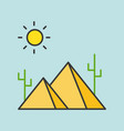 pyramid in desert filled outline icon vector image vector image