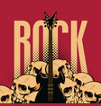 rock banner with electric guitar and human skulls vector image
