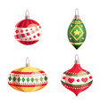 set of colorful christmas tree toys vector image vector image