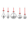 silver isolated christmas balls set vector image vector image