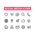 social media linear icons set icons for business vector image vector image