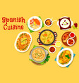 spanish cuisine seafood and meat dishes icon vector image vector image