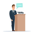 Speaker makes a report to the public Orator stands vector image