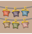 Star Tags Hang On Rope vector image vector image