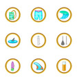 surf icons set cartoon style vector image vector image