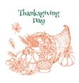 Thanksgiving harvest cornucopia greeting sketch vector image