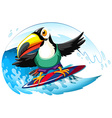 Toucan on surfboard in the giant wave vector image vector image