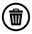 Trash Can flat black color rounded icon vector image