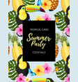 tropical summer card with toucans and flowers vector image vector image