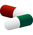 two colored pills vector image vector image
