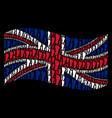 waving united kingdom flag collage of human vector image vector image