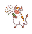 white metal bull with firecracker - chinese new vector image vector image
