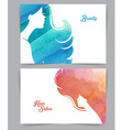 Woman with watercolor hair vector image vector image