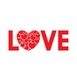 word love with a heart vector image
