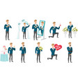 young caucasian groom set vector image vector image
