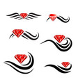 beauty hair diamond salon logo design set vector image