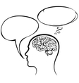 man icon with speech bubble sketch cartoon vector image