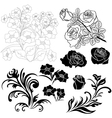 Set of isolated floral elements for design vector image
