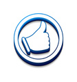 3d glossy Likethumbs up symbol vector image