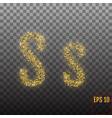 alphabet gold letter s on transparent background vector image