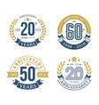 anniversary emblems sets vector image vector image