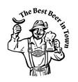 bavarian man with beer mug and sausage leaning