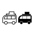 beach car line and glyph icon travel car with vector image
