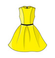 beautiful short yellow dress template vector image vector image