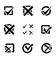 black check marks icons set vector image