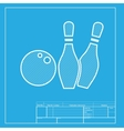 Bowling sign White section of icon vector image