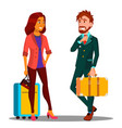 business trip businessman in suit and suitcase in vector image vector image