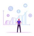 businessman analysing growing big data chart
