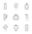 cactus icon set outline style vector image vector image