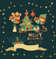 cartoon christmas set with little girl and penguin vector image
