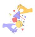 cartoon human hands holding abstract geometric vector image