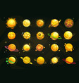 cartoon yellow and orange planets set funny vector image