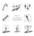christmas hand drawn sketch icons on white vector image vector image