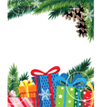 Christmas presents and Christmas tree vector image vector image