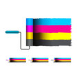 cmyk concept with brushes vector image vector image