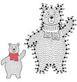 connect the dots and draw a cute polar bear vector image
