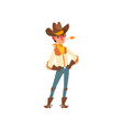 cowboy in traditional clothes western cartoon vector image vector image