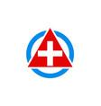 cross hospital medic triangle logo vector image vector image