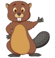 Cute beaver cartoon waving vector image vector image
