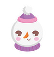 cute snowman with hat and scarf happy christmas vector image vector image