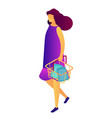 female customer with shopping basket isometric 3d vector image