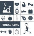 Fitness icons black set vector image vector image