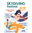 flyer template skydiving festival vertical ad vector image