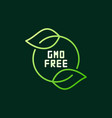 gmo free with green leaves modern outline vector image