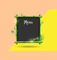 green bamboo frame menu design on colorful vector image